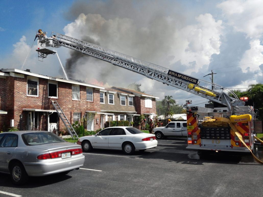 Iona McGregor Firefighters Fighting a Building Fire